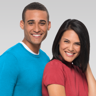 Female and male Supercuts hair model