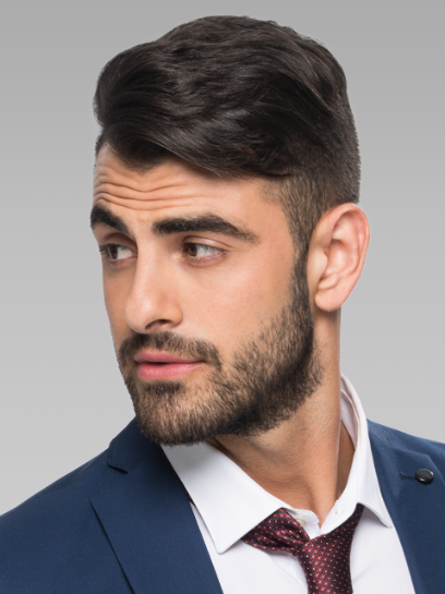 Textured comb over hairstyle
